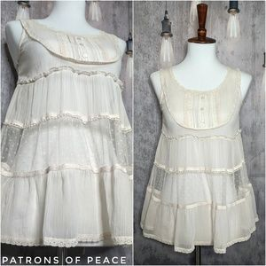 Patrons of Peace tiered babydoll lace camisole top